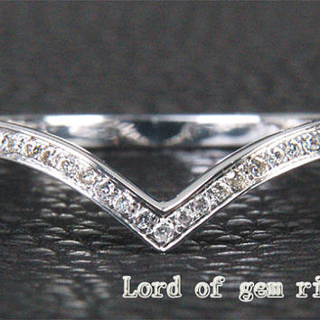 Unique Solid 14K White Gold Pave Curved .15ct Diamonds Wedding Band Matching Ring