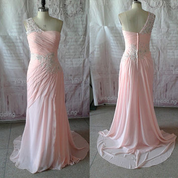 Pink Chiffon Elegant One-shoulder Strap Appliques Beaded Sheath Floor Length Sexy Prom Dress Prom Gown Formal Evening Dress Party Dress