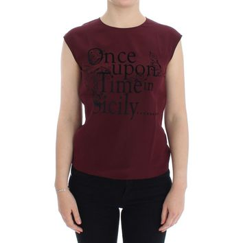 Dolce & Gabbana Bordeaux 'Once Upon A Time In Sicily' silk blouse