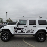 Run Stick Family Jeep Wrangler Rubicon Car vinyl graphics off-road 4x4  Mud Dirt  j017