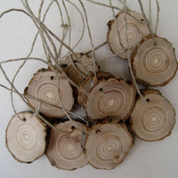 Wood Tree Branch Slices Wooden Gift Tags for Rustic Wedding or Outdoor Natural Decoration with hemp string (Set of 10)
