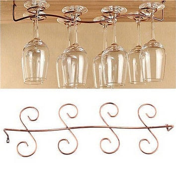 6/8 Wine Glass Rack Stemware Hanging Under Cabinet Holder Bar Kitchen Screws TB