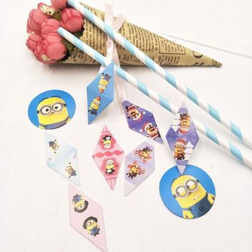 Minions Birthday Party Spplies Inserts Shower Favor Cupcake Toppers Picks Cases Decoration Candy Baby Favor Shower Items