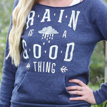 Rain is a Good Thing   Silver Foil Off-The-Shoulder Sweatshirt