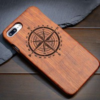 Compass: Hard Wood Designer Case For Samsung Galaxy S5 S6 S7 S8 Edge Plus Note 3 4 5 8 100% Natural Wood Case Cover For iPhone 5 5S 6 6S 7 8 Plus X