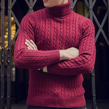 Winter Men Sweaters and Pullovers Turtleneck Sweater Cotton Knitted Male Hip hop Sweater JT64