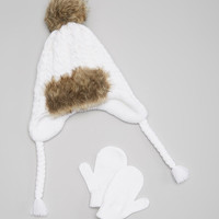 White XOXO Cable-Knit Beanie & Gloves