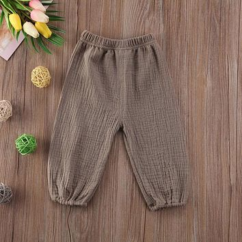 Newborn Toddler Baby Kids Girl's Boy's Cotton Wrinkled Bloomers Trousers Legging Pants Green White 0-4Y