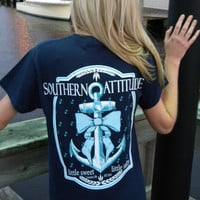 Country Life Outfitters Southern Attitude Anchor Big Bow Sweet Vintage Girlie Bright T Shirt