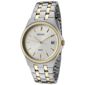 Seiko SGEF12 Men's Quartz Two Tone Stainless Steel Silver Dial Watch