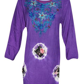 Mogul Interior Womens Peasant Tunic Neck Embroidery Tie -Dye Purple Rayon Kurti Dress: Amazon.ca: Clothing & Accessories