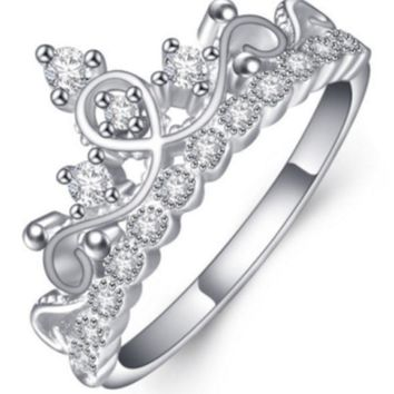 ¡±Pandora¡± silver crown ring synthetic rhinestone