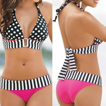 2017 Sexy Women Swimwear Halter Bandeau Bikini Set Two Piece Push Up Padded Female Dot Design Bra Swimsuit Beach Bathing Suit