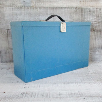 Metal Box Industrial Box Portable File Cabinet Vintage Expandable File Blue Metal File Box with Key Industrial Storage Mid Century Decor