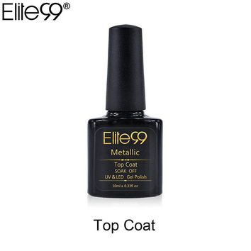 Elite99 10ml Soak Off Metallic Top Coat For Colorful Rainbow UV Gel UV LED Curing Top it off long lasting 10ml Nail Gel Polish