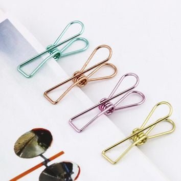 TUTU Beautiful Metal Plating Colored Binder Clips Dovetail Clamp Memo Clips Office Binding 5pcs/lot Size S M L Paper Clip H0021