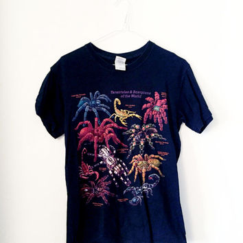 Spider species colourful print t-shirt (S)