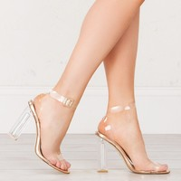 Lucite Heel Clear Sandals in Nude and Rose Gold