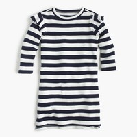 Girls' striped ruffle-trimmed long-sleeve dress
