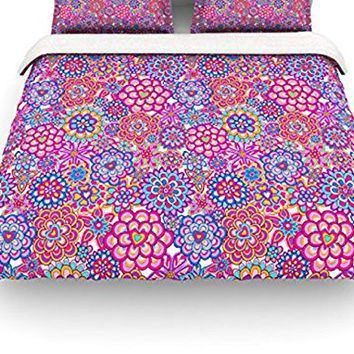 "Kess InHouse Julia Grifol ""My Happy Flowers"" Queen Cotton Duvet Cover, 88 by 88-Inch"