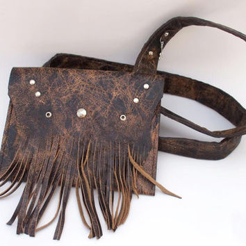 Leather fringe bag, genuine leather bag, leather boho chic bag, country leather bag