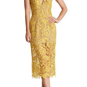 Dress the Population 'Marie' Lace Midi Dress | Nordstrom