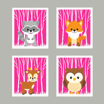 Woodland Animals, Forest Animals on Hot Pink, CUSTOMIZE COLORS, 8x10 Prints, set of 4, Nursery Decor, Animal Print, Baby Boy Wall Prints