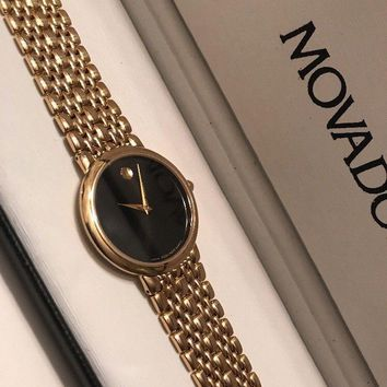 Movado Museum Vintage Black Dial Swiss Made Pre-Owned Mens Watch....32mm