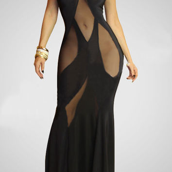 Black Halter Sleeveless Mesh Maxi Dress