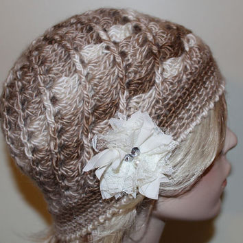 Vintage Style Crochet Swirl Hat Teen or Petite Bronze BrownCream with Rhinestones Flower Knitted Cap Hat Beanie, Flapper Era Hat Cap Beanie