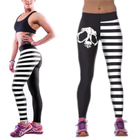 Gothic Punk Women Digital 3D Printed Stripe Print Stretchy Pants Sports Yoga Pants_trq = 1905770052