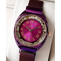 Rolex Tide brand diamond female personality wild quartz watch Purple