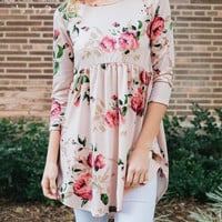 Babydoll Floral Tunic Top - Blush or Black