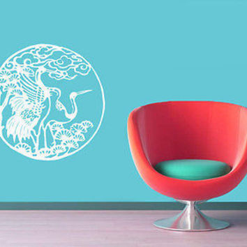 WALL VINYL STICKER DECALS  MURAL CHINESE JAPANESE STYLE BIRD STORK CRANE  D1091