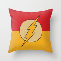 Flash Logo Minimalist Art Print DC Comics Throw Pillow by The Retro Inc