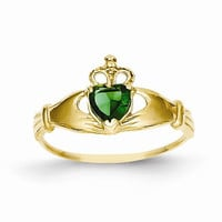 14kt yellow gold ladies green C.Z claddagh ring