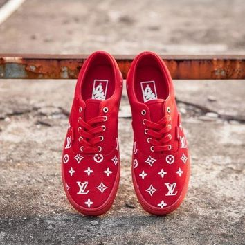 Vans x Supreme x Louis Vuitton Red Casual Sport Shoes Sneakers-1