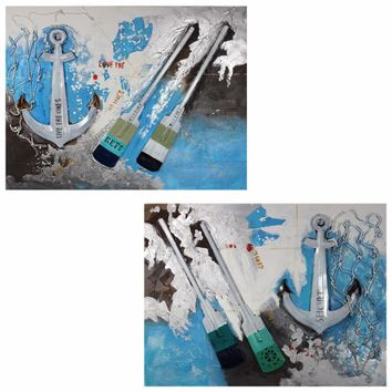 Anchor Oil Painting Print Set On Canvas,White,Set Of Two By Benzara