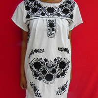 Mexican White Dress Very Fine Black Flowers Embroidered Handmade Special Collection Spring / Summer Small