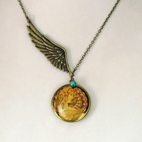Art Nouveau Winged Angel w/ Turquoise Locket Necklace by ashita