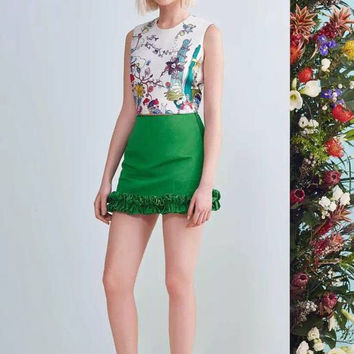 Two-Piece Mini Skirt Floral Set