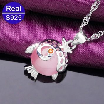 Red Trees Brand 925 Silver Fine Jewelry & Accessories Fashion Cute Fish Statement Pendant Necklace With 18 inch Silver Chains