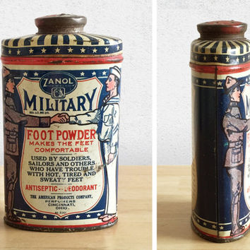 Vintage Zanol Military Foot Powder Tin / 1930s Bathroom Decor / General Store / Advertising Collectible / Vanity Dressing Table