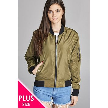 Ladies plus size light weight bomber jacket w/back rib contrast