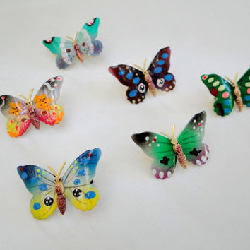 Butterfly Brooch Bright Colors, Vintage Enamel Butterfly Pin, Dollar Days Sale
