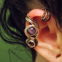 Wire Wrapped Ear Cuff with Amethyst and Tiger's Eye