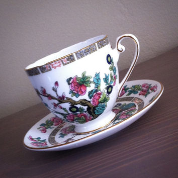 Royal Grafton Indian Tree tea cup and saucer, floral tea set, English bone china teacup, pink flower tea cup