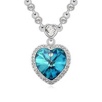 Charm Ocean Heart Pendants Necklace with Clear Crystal For Women Valentine's Day Gift