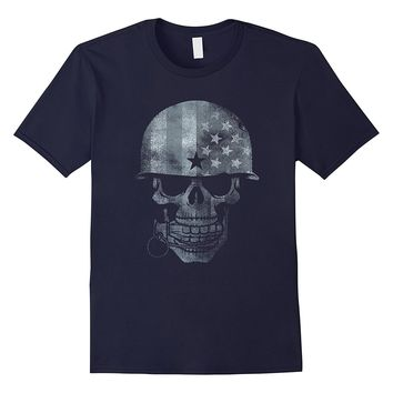 American flag skull patriotic distressed shirt