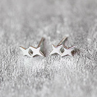 Minimal Geometric Earrings, Sterling Silver Geometric Stud Earrings, Tiny earrings, Minimal studs earrings, Minimal Jewelry, gifts for her